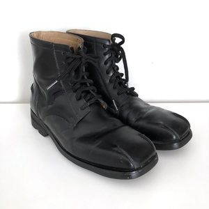 John Fluevog Boots 9 Black Leather Square Toe